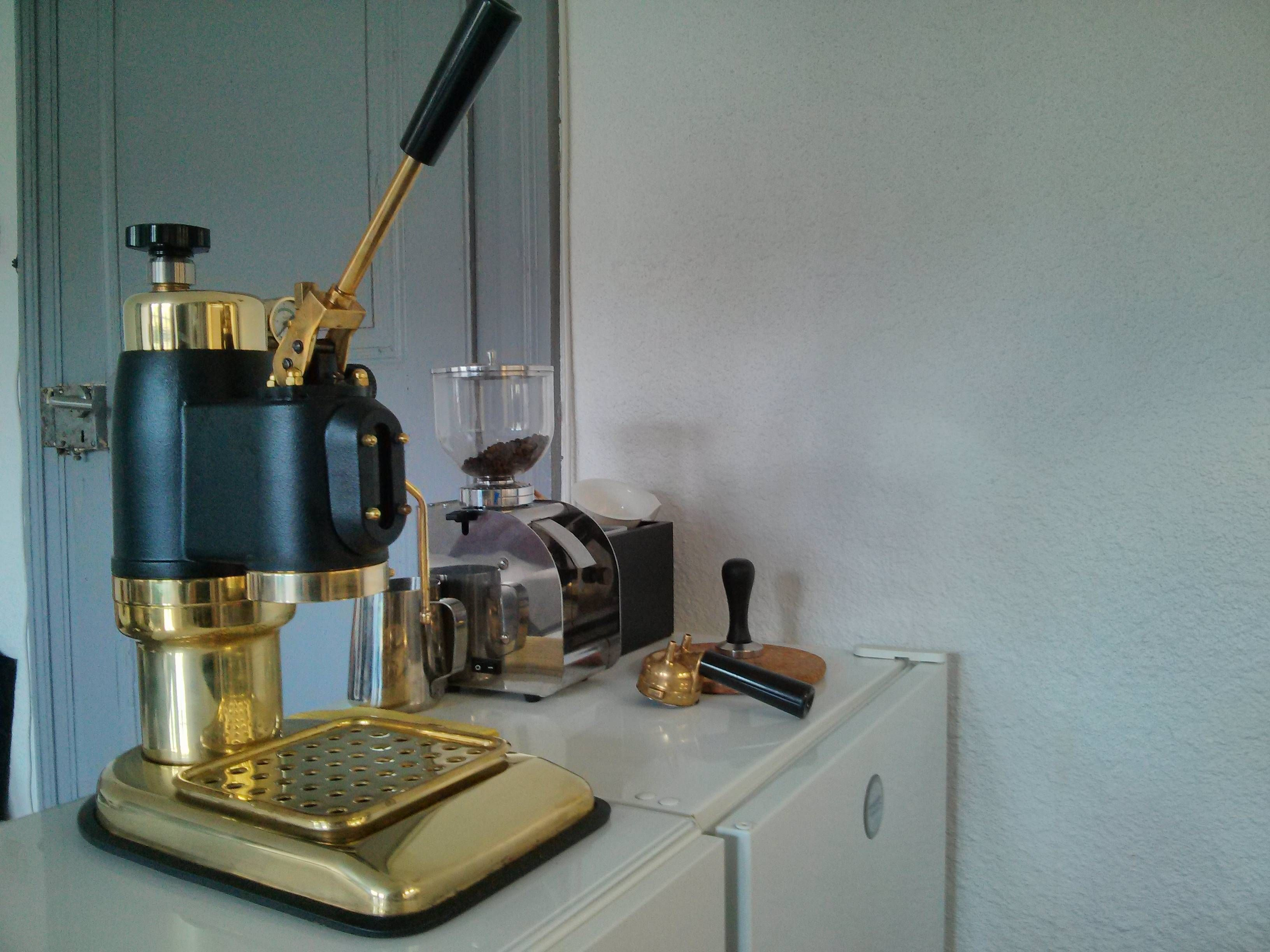 Old School Golden Antique Espresso Machine by Reddit user