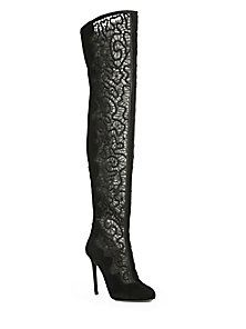 New Concept Nicholas Kirkwood Boots Suede Black Mesh Embroidered And Over the knee