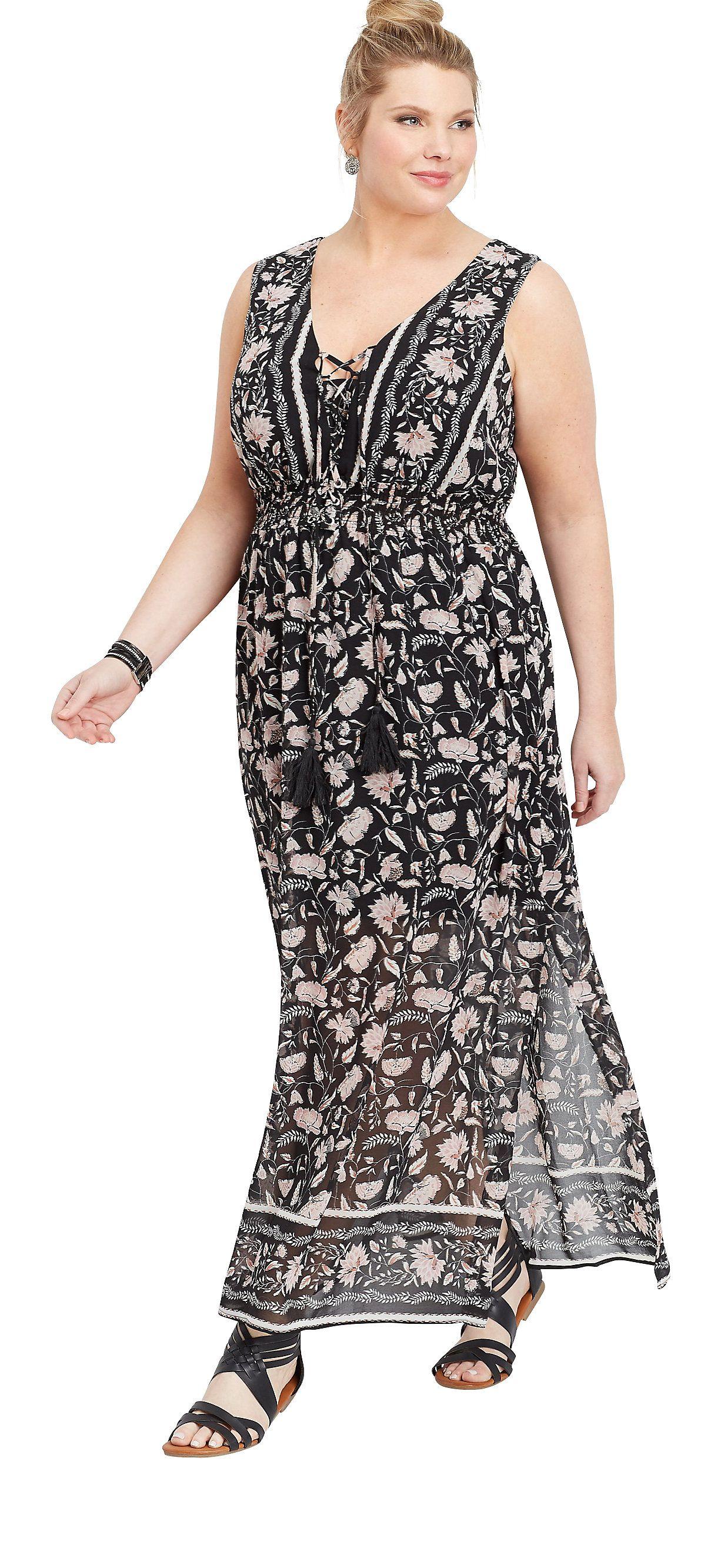 Plus Size Lace Up Border Print Maxi Dress #sponsored #plussize ...