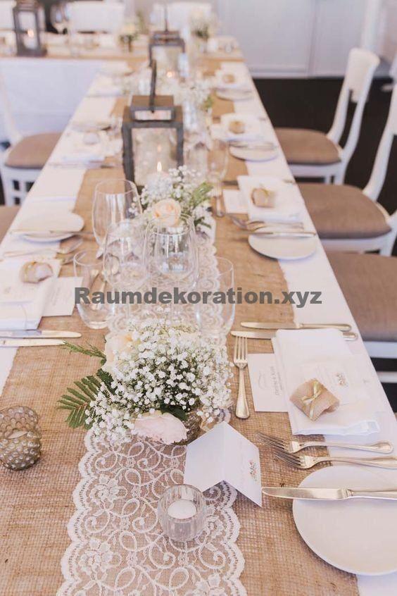 Decoración de la mesa de la boda: el encaje es a menudo el invitado de honor en las bodas