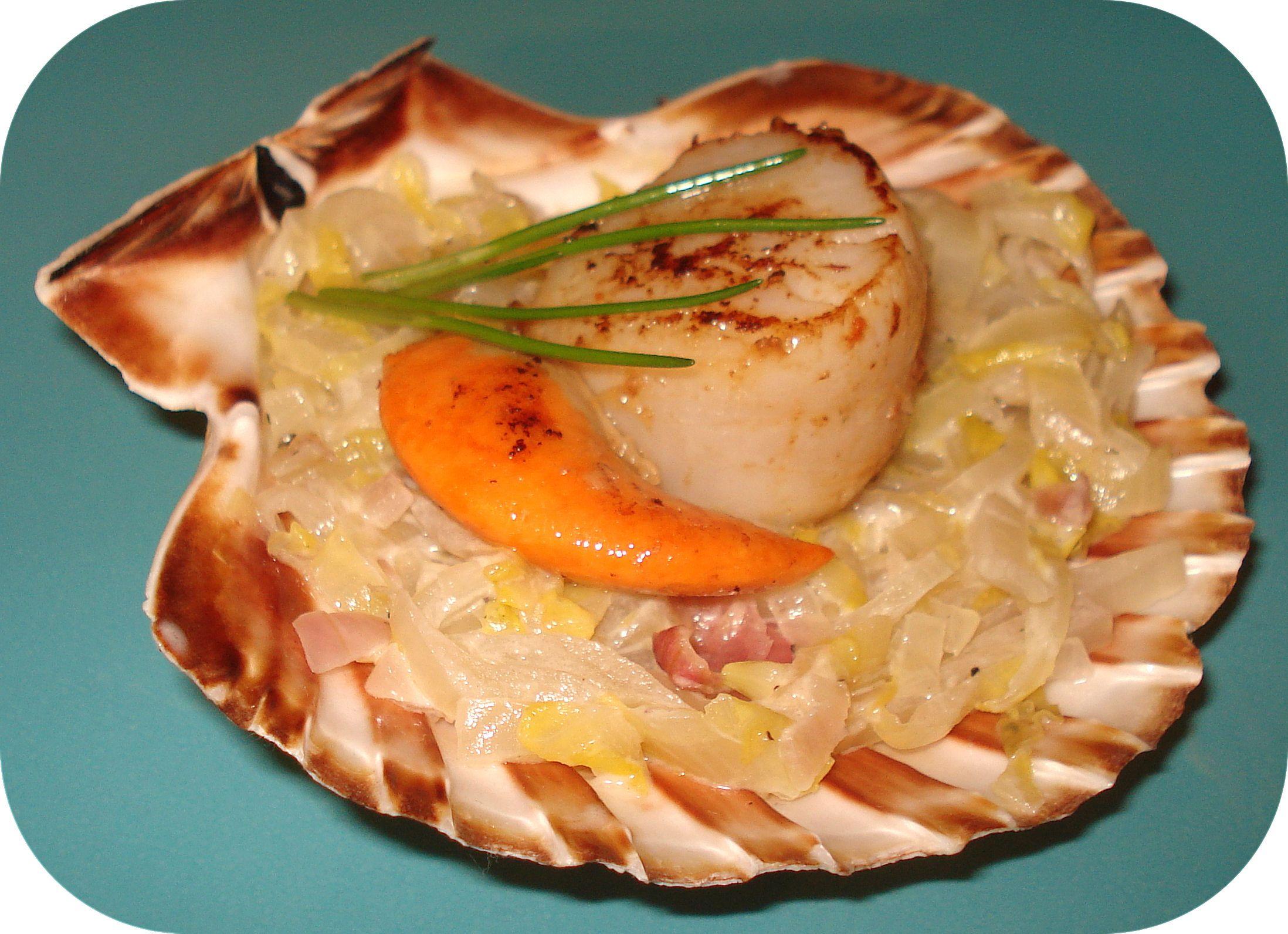 St jacques a la fondue de poireaux miam miammm - Cuisiner des coquilles saint jacques ...