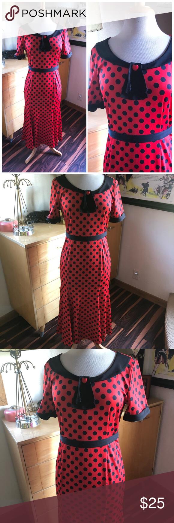 Sold Retro Dress Red Black Rockabilly 1940s Retro Dress Red Dress Black And Red [ 1740 x 580 Pixel ]