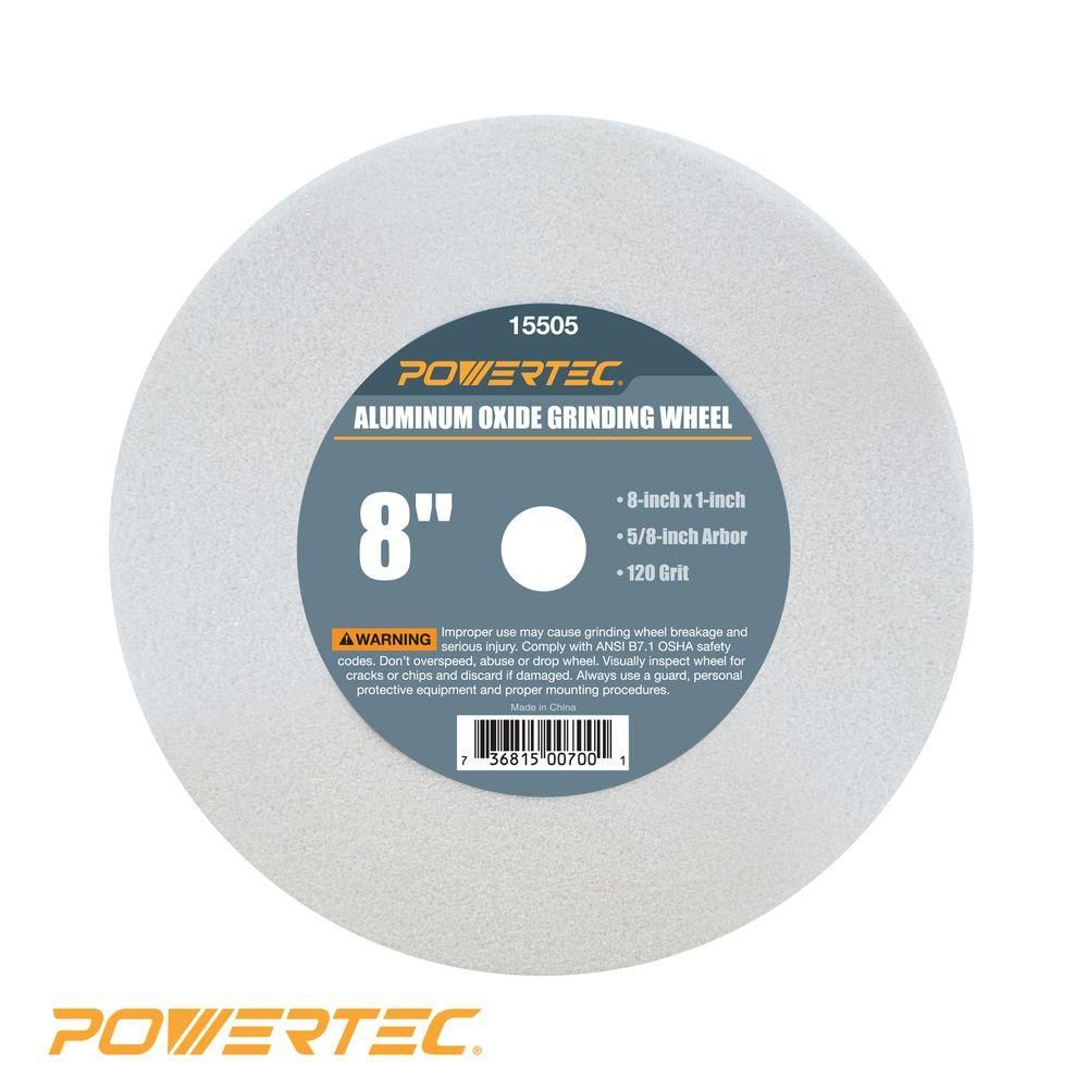 Powertec 8 In X 1 In X 5 8 In 120 Grit White Aluminum Oxide Grinding Wheel Products Power Tool Accessories Tools Bench Grinder