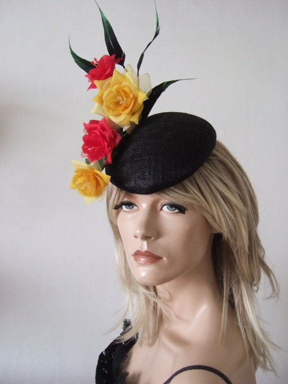READY TO SHIP Red Yellow Black Roses Feathers Derby Day Races Mother of the  Bride Hat Headpiece