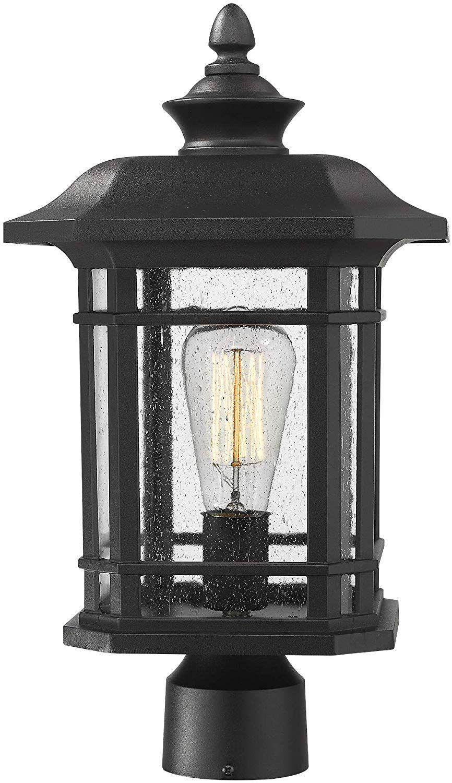 Emliviar Outdoor Post Lighting Fixture 17 Inch 1 Light Exterior Post Light In Black Finish With Seeded Glass A2202 Post Lighting Post Lights Outdoor Lighting
