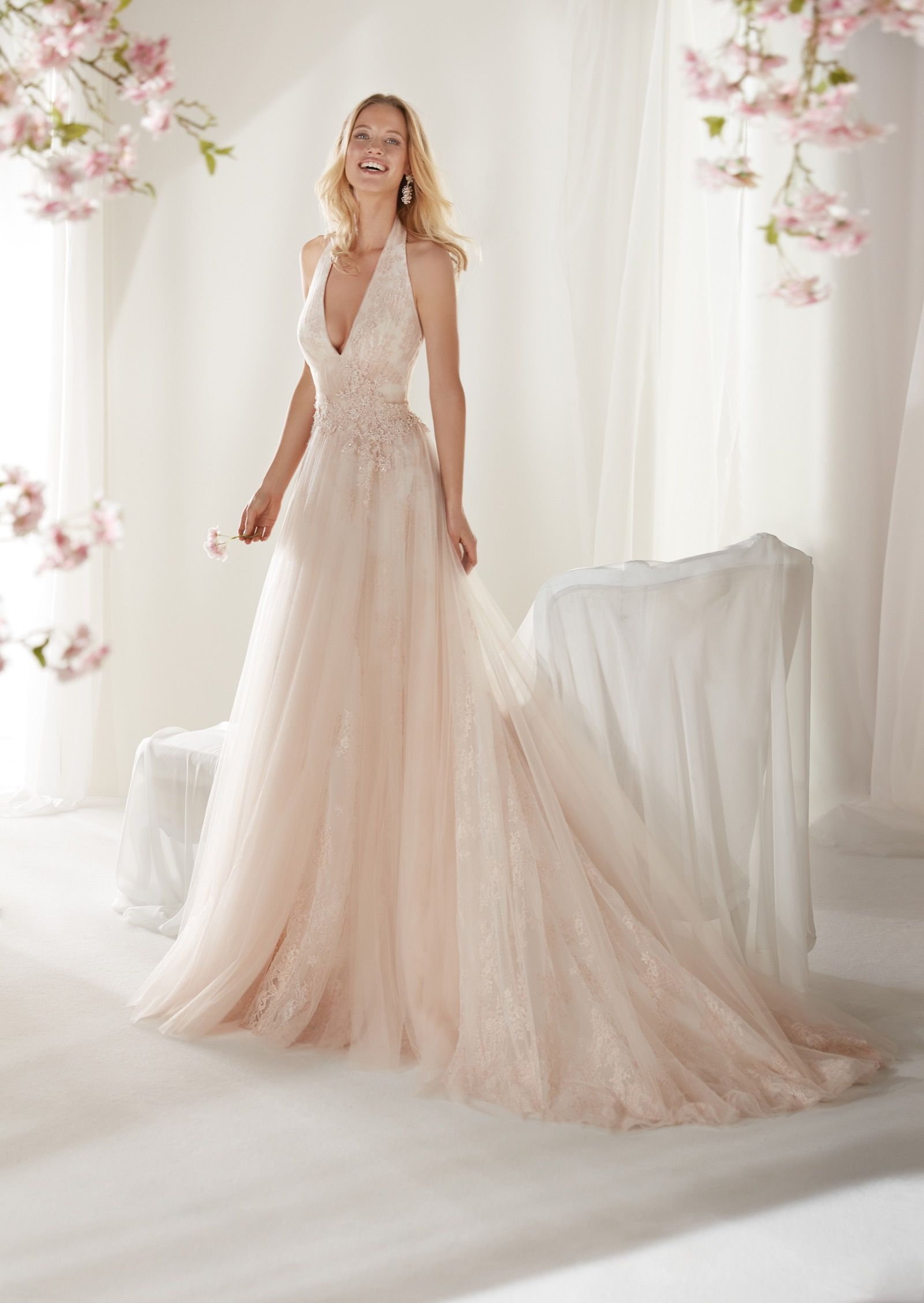 Coab19290 Colet 2019 Collection Wonderful Soft Line Light Pink Wedding Dress In Tulle Cha Light Pink Wedding Dress Wedding Dress Outfit A Line Wedding Dress