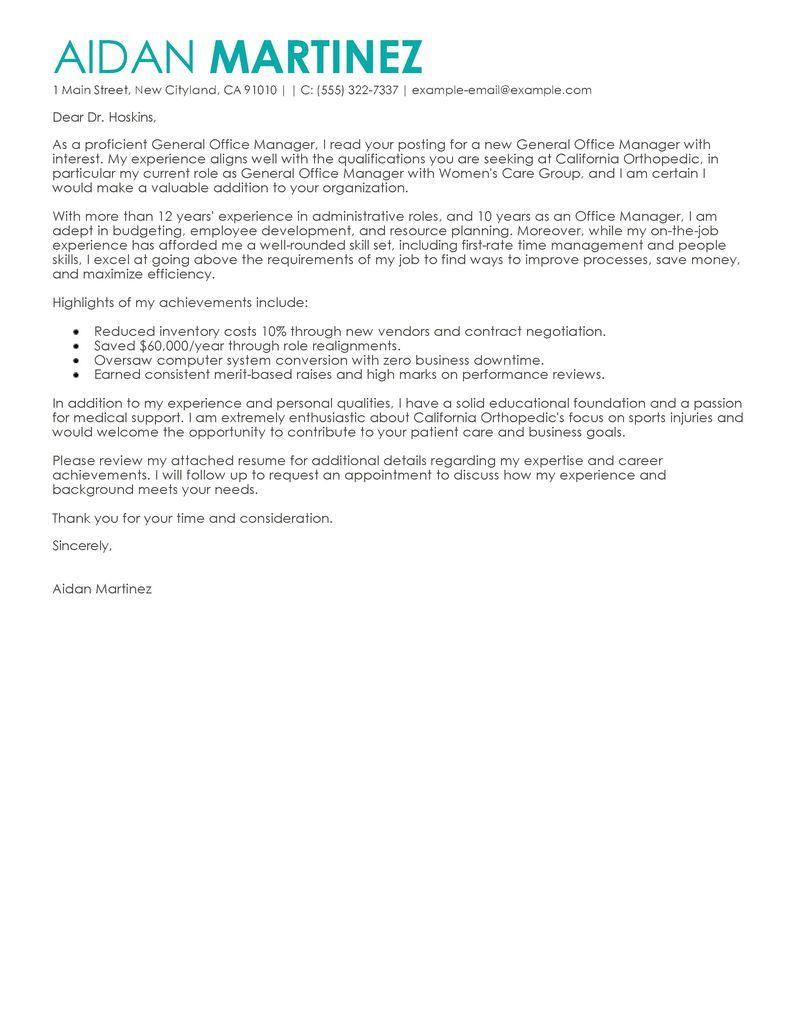 Best Admin General Manager Cover Letter Examples Livecareer Create