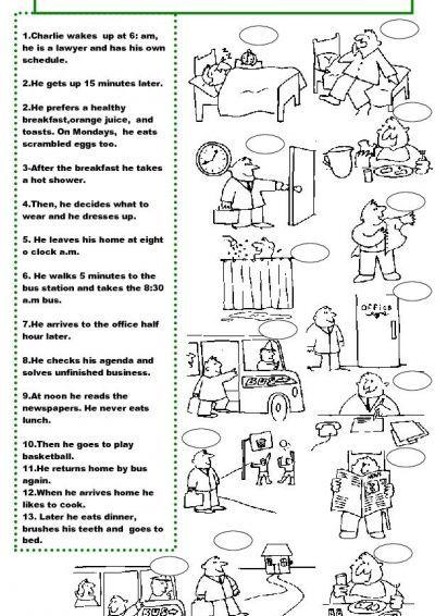 CHARLIES DAILY ROUTINE Worksheet Free ESL Printable