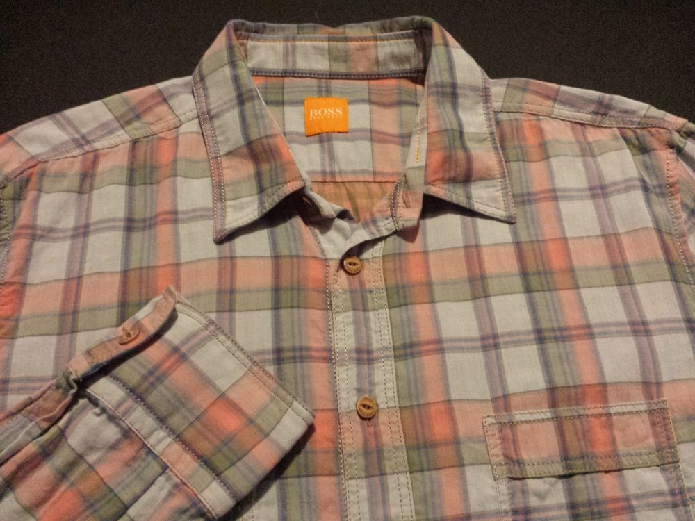 72d5d6d3ca1d HUGO BOSS Orange Label Mens Medium L S Button-Front Multicolor Plaid ...