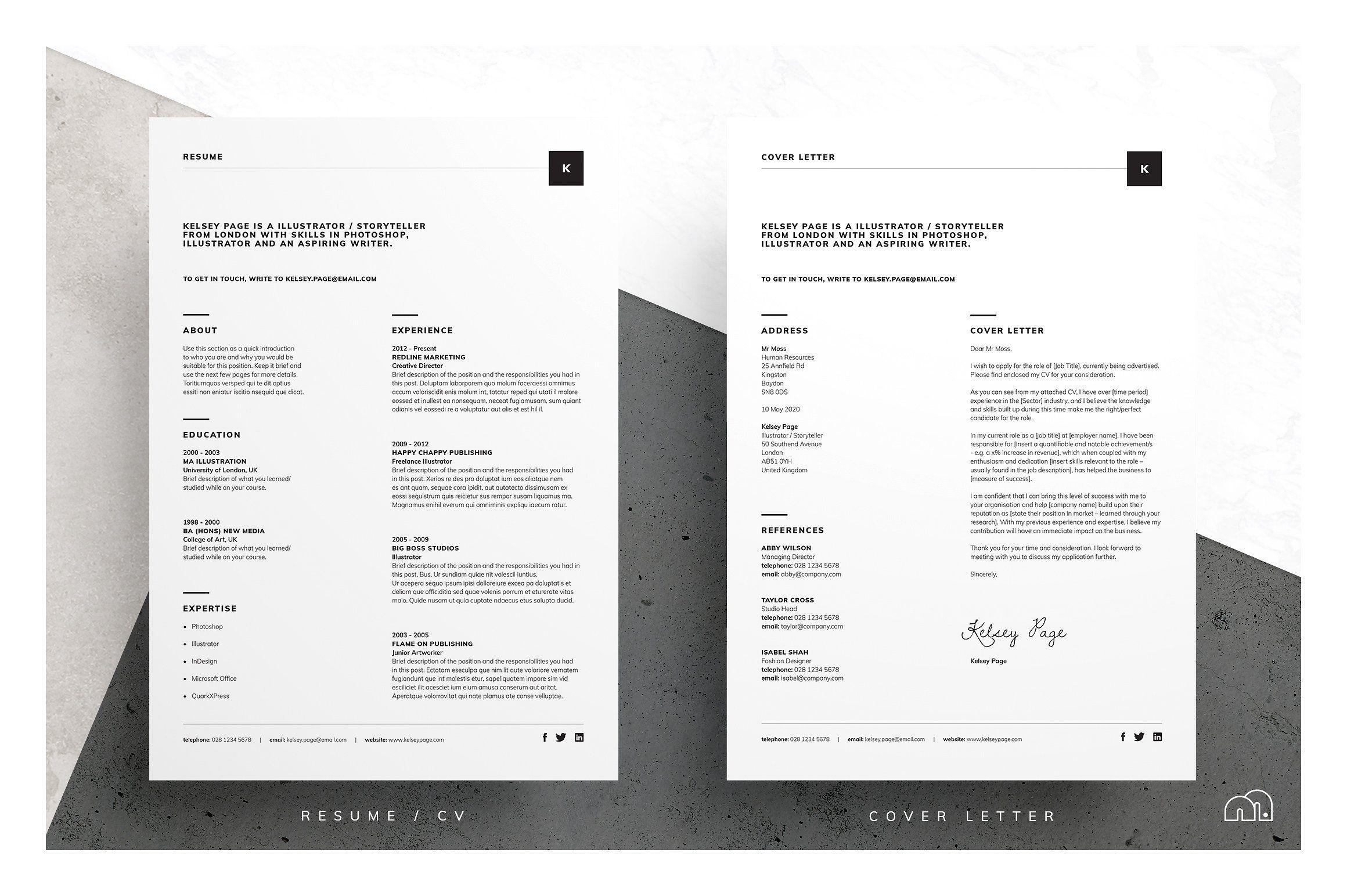 Resume/CV - Kelsey by bilmaw creative on @creativemarket ...