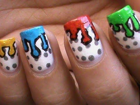 Dripping Paint Nail Art Design Colorful Tutorial Nail Polish