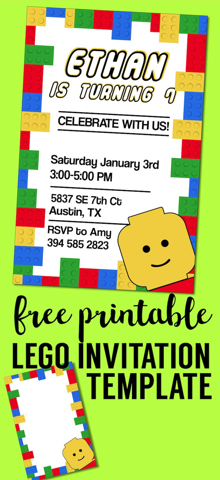 Free Printable Lego Birthday Party Invitation Template | Pinterest ...