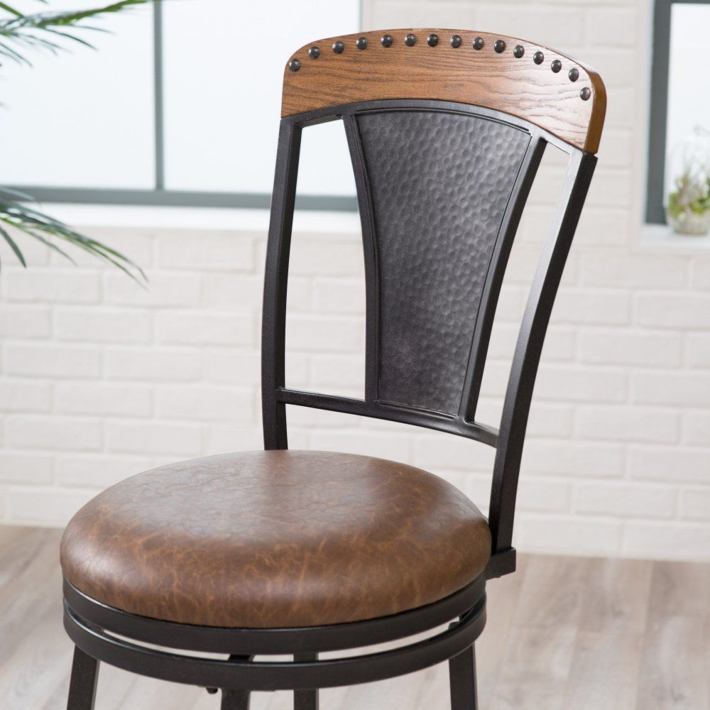 Belham Living Lucca Swivel Bar Stool - Modern style meets rustic charm in the Belham Living Lucca Swivel Bar Stool . Crafted from wood panel and hammered metal, the antique brown finish...