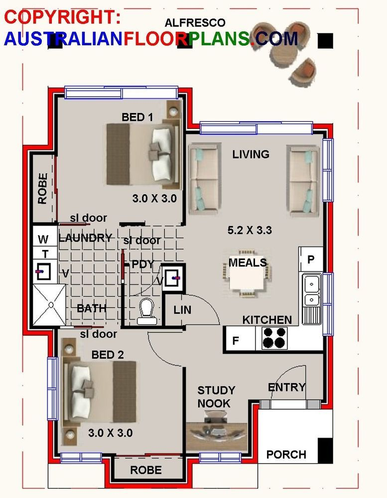 Granny Flat Design60 SBH2 BEDROOM + STUDY NOOK CONCEPT