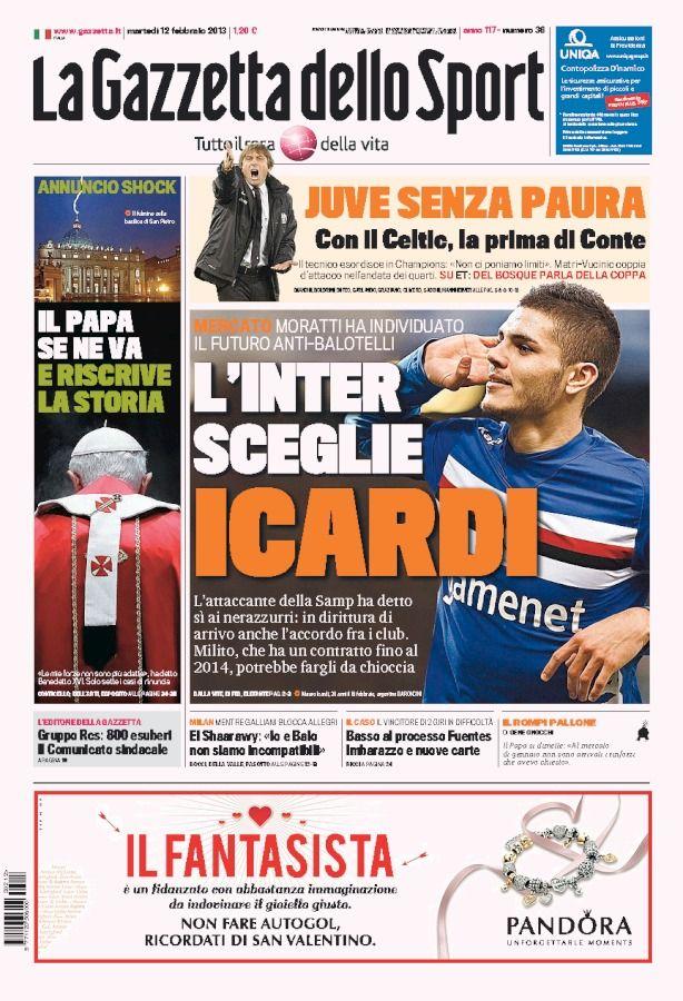 la prima pagina del 12 02 2013 Calcio divertente, Sport