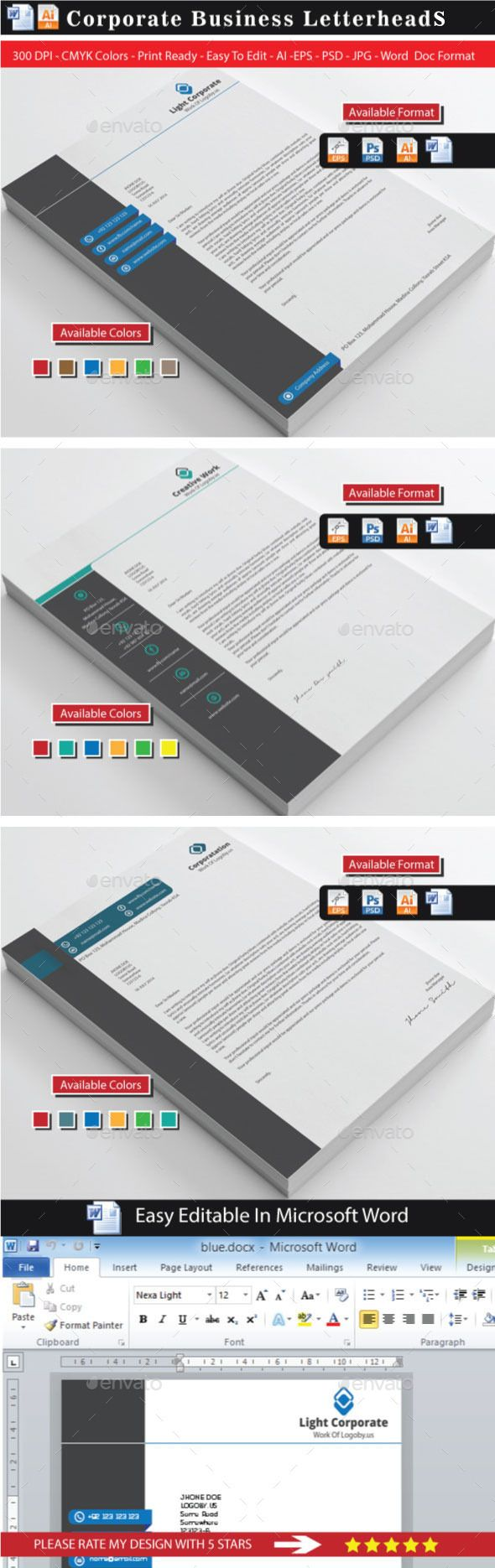 Corporate Modern Letterhead Bundle | Papelería