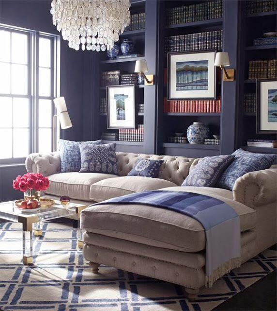 Steel Blue With Khaki Blue Living Room Interior Living Room Designs