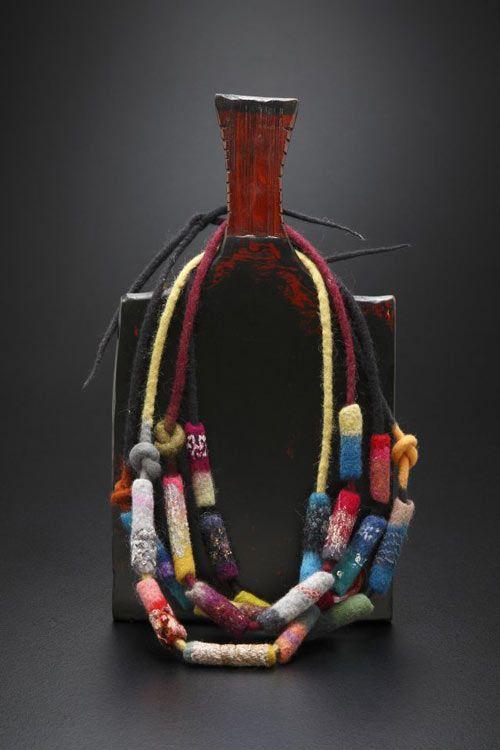 felt log beaded necklaces