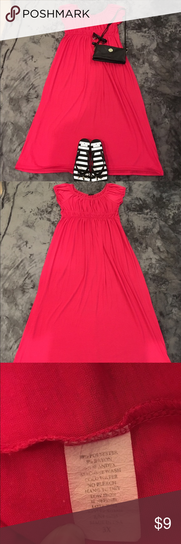 Empire waist ankle length pink dress I love this dress. Pink, scoop neck, empire waist, super flattering dress, says it's a 3X but it fits more like an XL. Good condition and gently used. Dresses