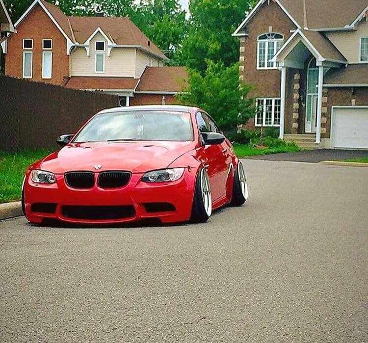 BMW E92 M3 red slammed stance
