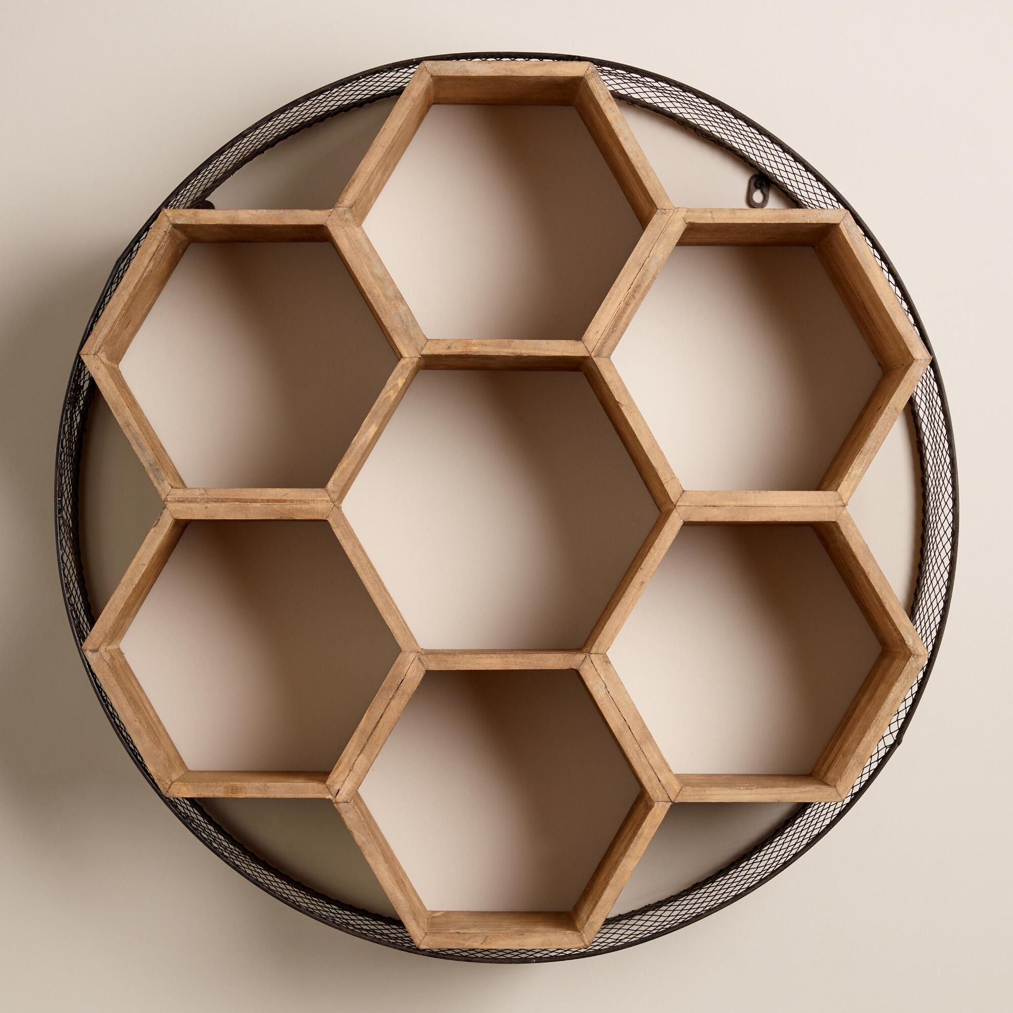 Round Wood Wall Decor round metal and wood honeycomb wall storage | chicken wire frame