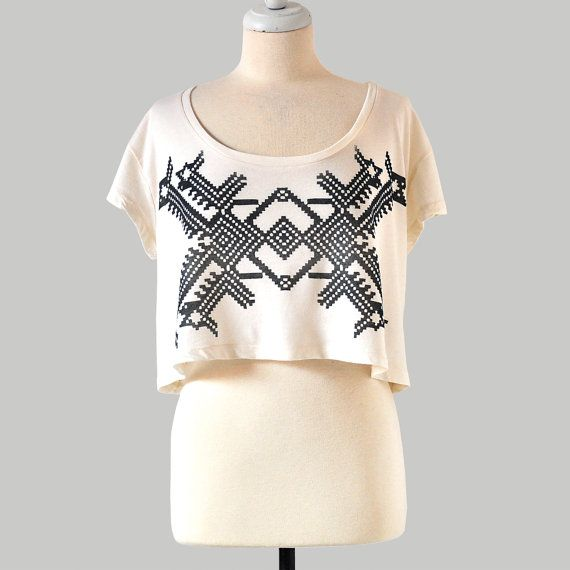 Hand Screen Printed Crop Top with Geo Design by Maryink by maryink, $30.00