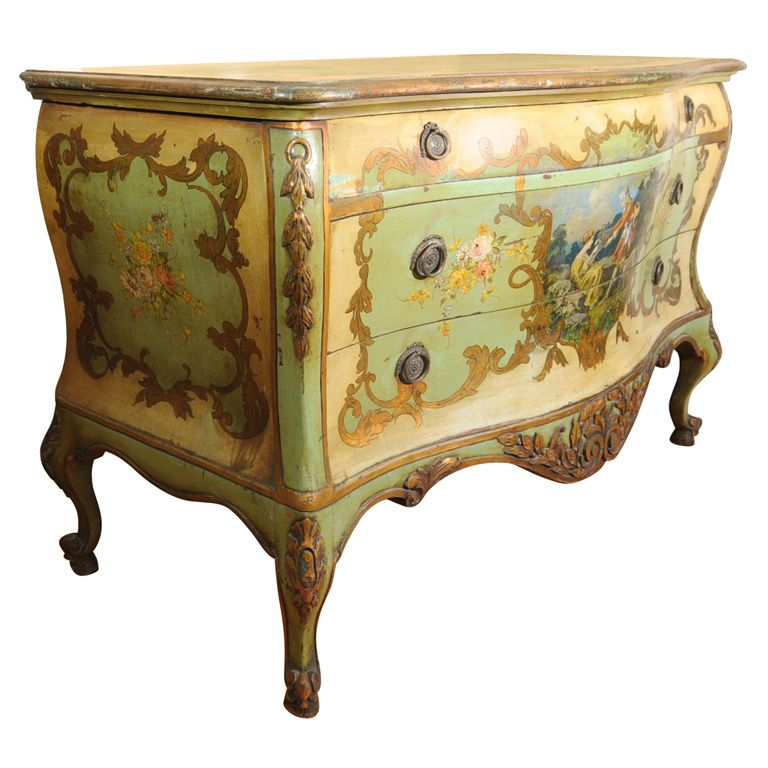 19th century venetian painted commode venetian italy for Italian painted furniture