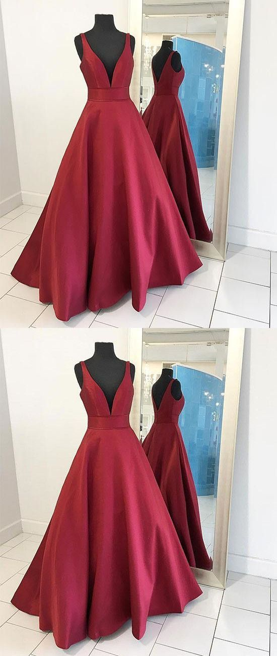 2017 Sexy Burgundy Red Long V Neck Red Evening Dress,Simple Prom ...