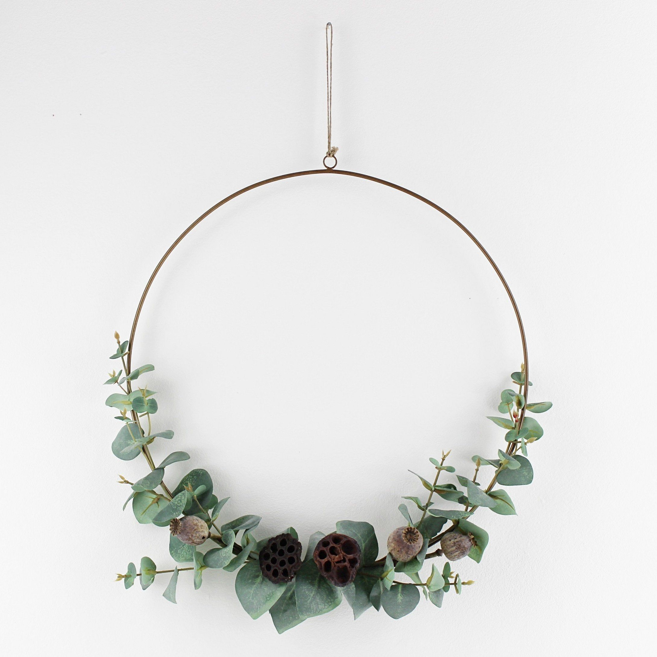 Photo of Artificial eucalyptus and dried seed wreath 3 sizes // Green Christmas Brass Hoop