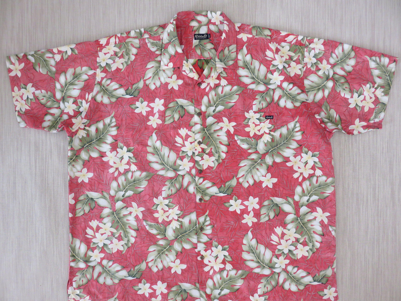01bd4530 Mens Hawaiian Shirt EDDIE D Boardsports Surfer Aloha Shirt Tropical Reverse  Print Plumeria Floral 100% Cotton -4XLT - Oahu Lew's Shirt Shack by ...
