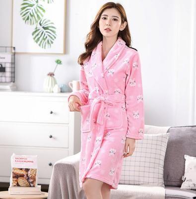 Bath Robe Women Winter Warm Coral Fleece Women s Bathrobe Nightgown Kimono Floral  Dressing Gown Sleepwear Female Home Clothes 522016758
