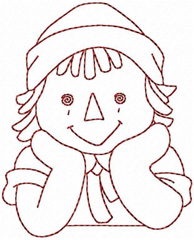 Ann and Andy No 6 Redwork Embroidery | Muneca de trapo, Bordado y Caras