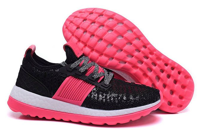 outlet store 6690b 718ed WMNS adidas Pure Boost 2016 GS Pink Flash Black Pink Fire UK Trainers 2017 Running  Shoes 2017