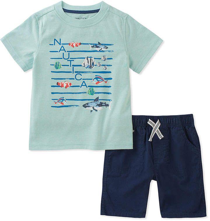 f51a88cbd8 Light Blue 'Nautica' Fish Tee & Shorts - Boys #coordinated#swim#fish ...