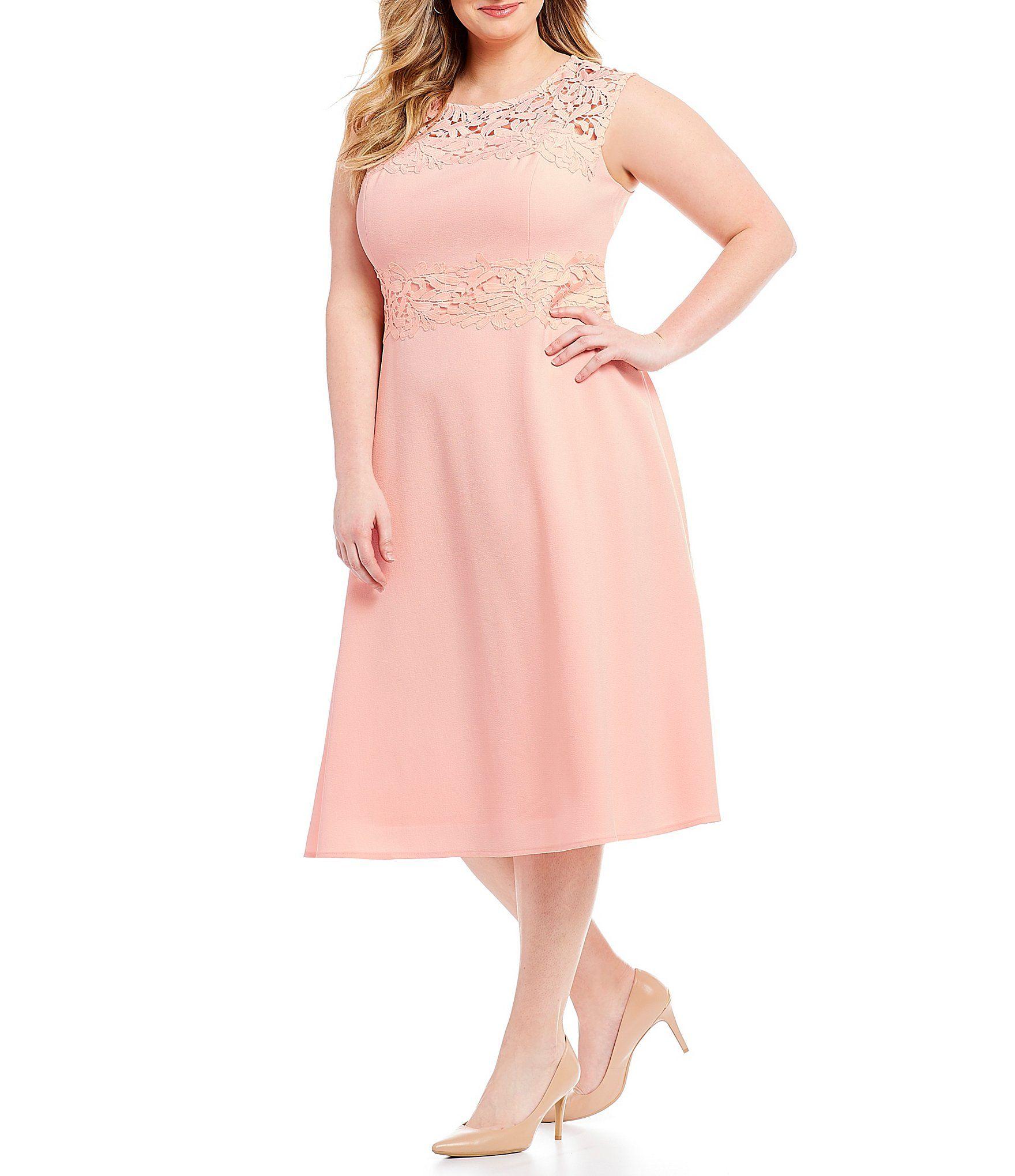 4554aec19a7 Jessica Howard Plus Illusion Lace Tea Length Dress  Dillards ...
