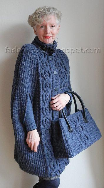 Ravelry: # 04 Tweed-Cape mit Zopfstreifen pattern by Anneli Zimmermann