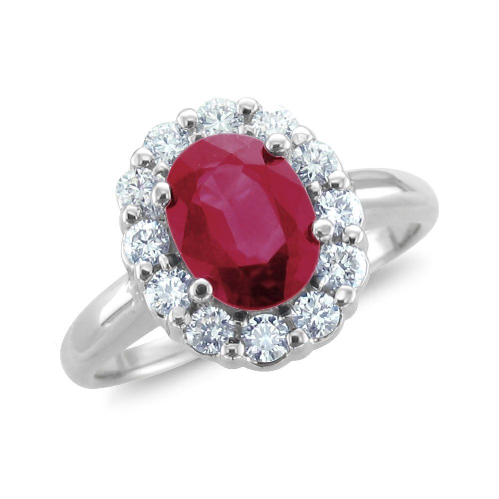 Diamond & Ruby Halo Engagement Ring  Here's A Natural Diamond & Ruby Halo Engagement  Ring