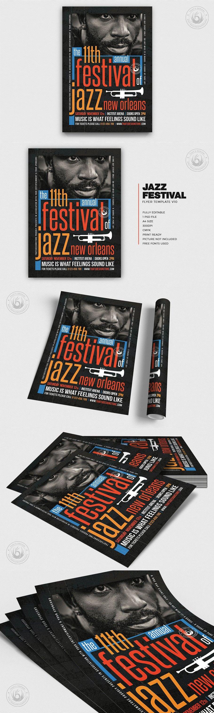 Jazz Festival Flyer Template V10 in 2020 Flyer template