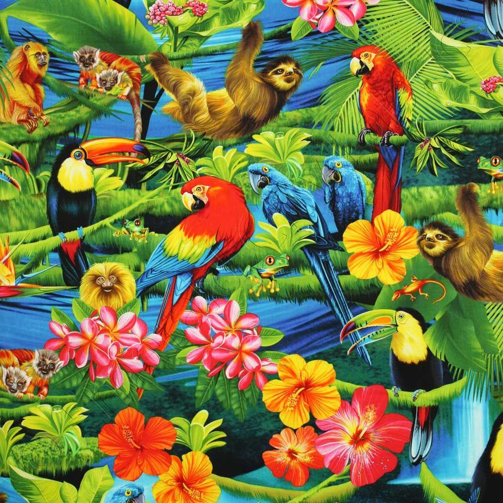 Timeless Treasures Tropical Rainforest Multi, 44inch