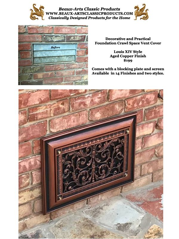 Decorative Foundation Vent Covers Louis Xiv Style Beaux Arts Classic Products Crawl Space Vents Crawl Space Vent Covers Rental Decorating