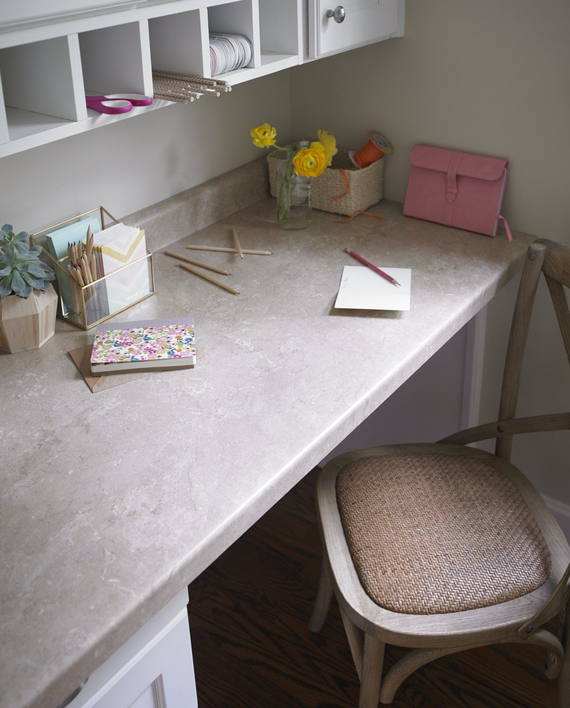 Built In Desk With Formica Laminate Travertine Countertop Click