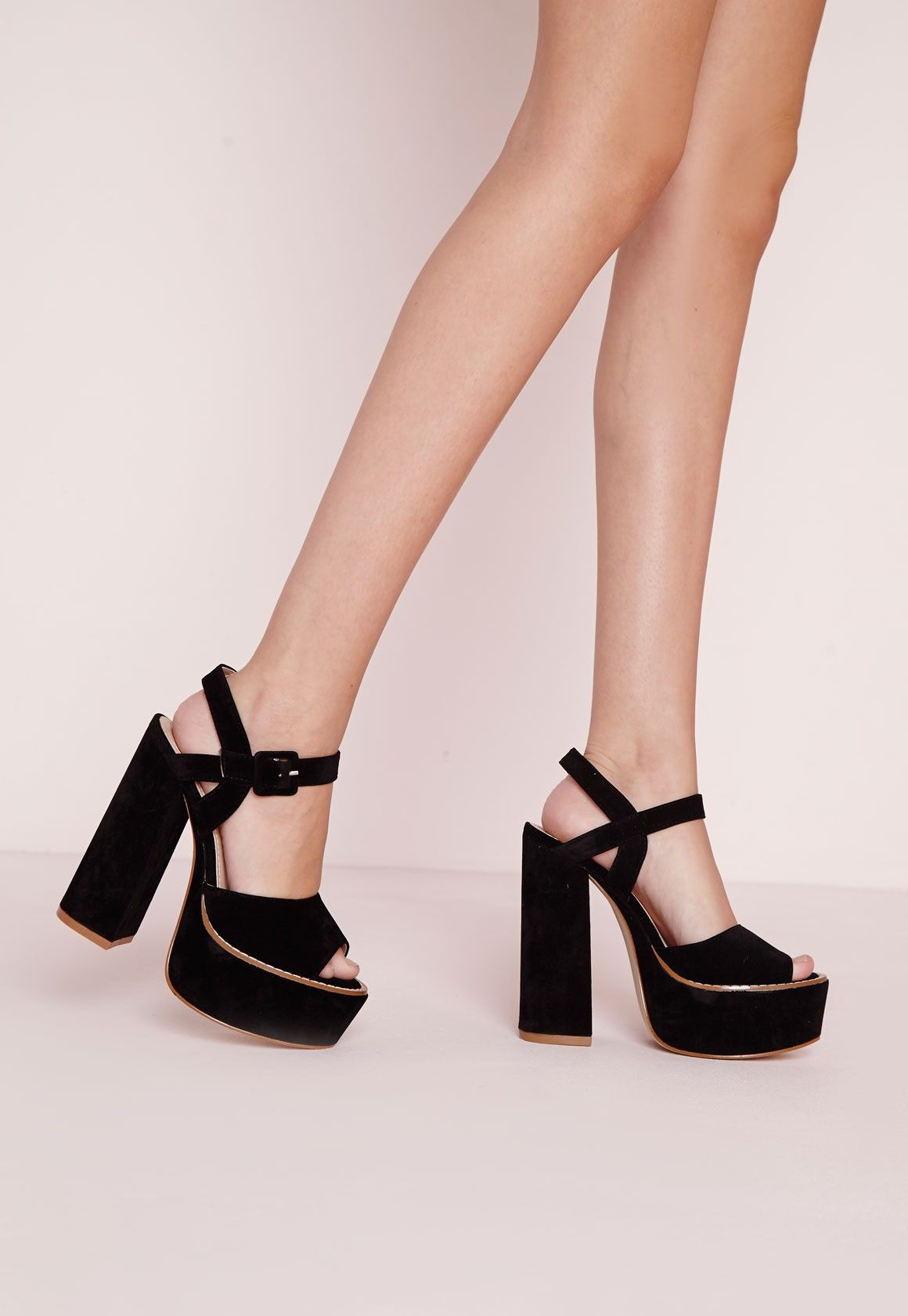 9cc0592fb58a 70 s Platform Block Heel Sandals Black - Shoes - High Heels - Missguided