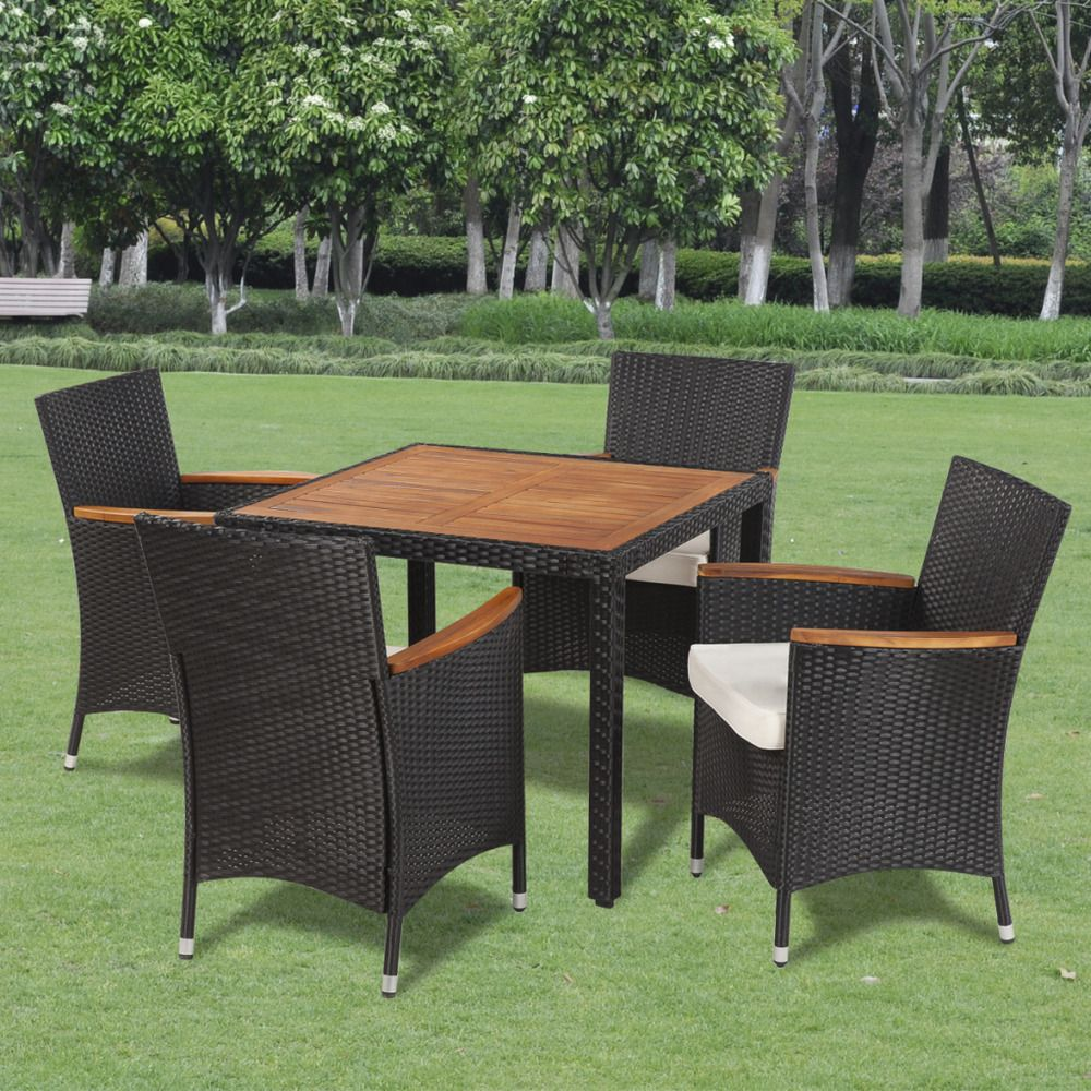 Outdoor dining set pc black rattan patio furniture cushioned
