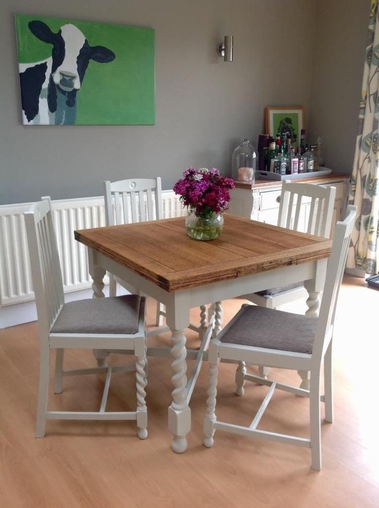Shabby Chic Oak Extending Barley Twist Table Chairs Table And