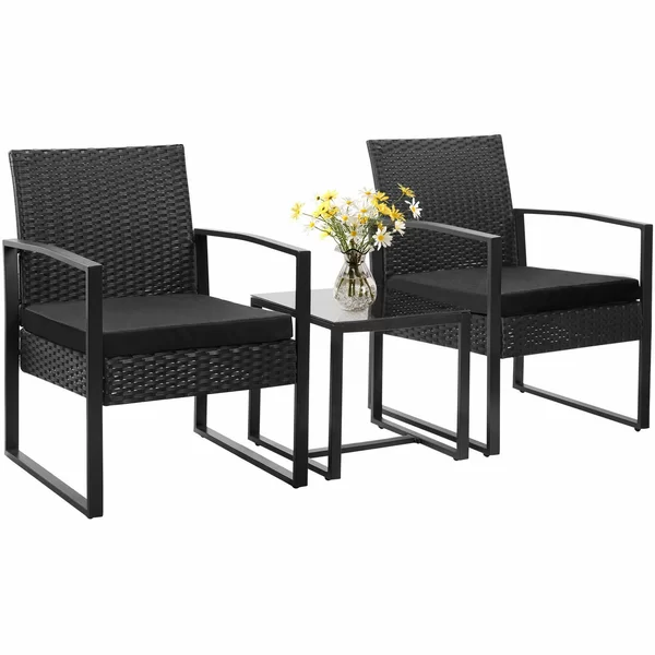 Beoll 3 Piece Rattan Seating Group With Cushions Balcony