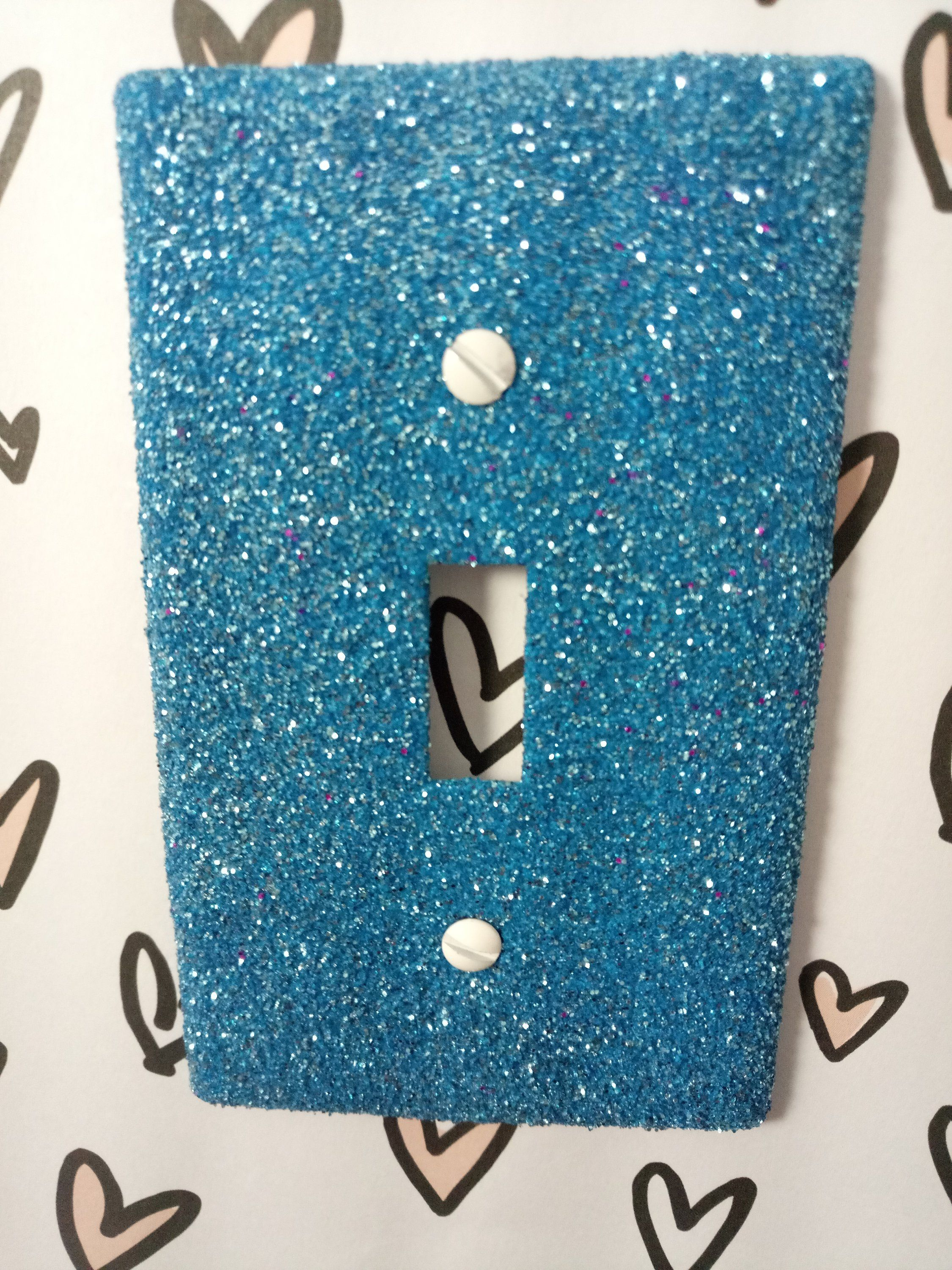 Bright Baby Blue Decorative Glitter Bling Light Switch Plates