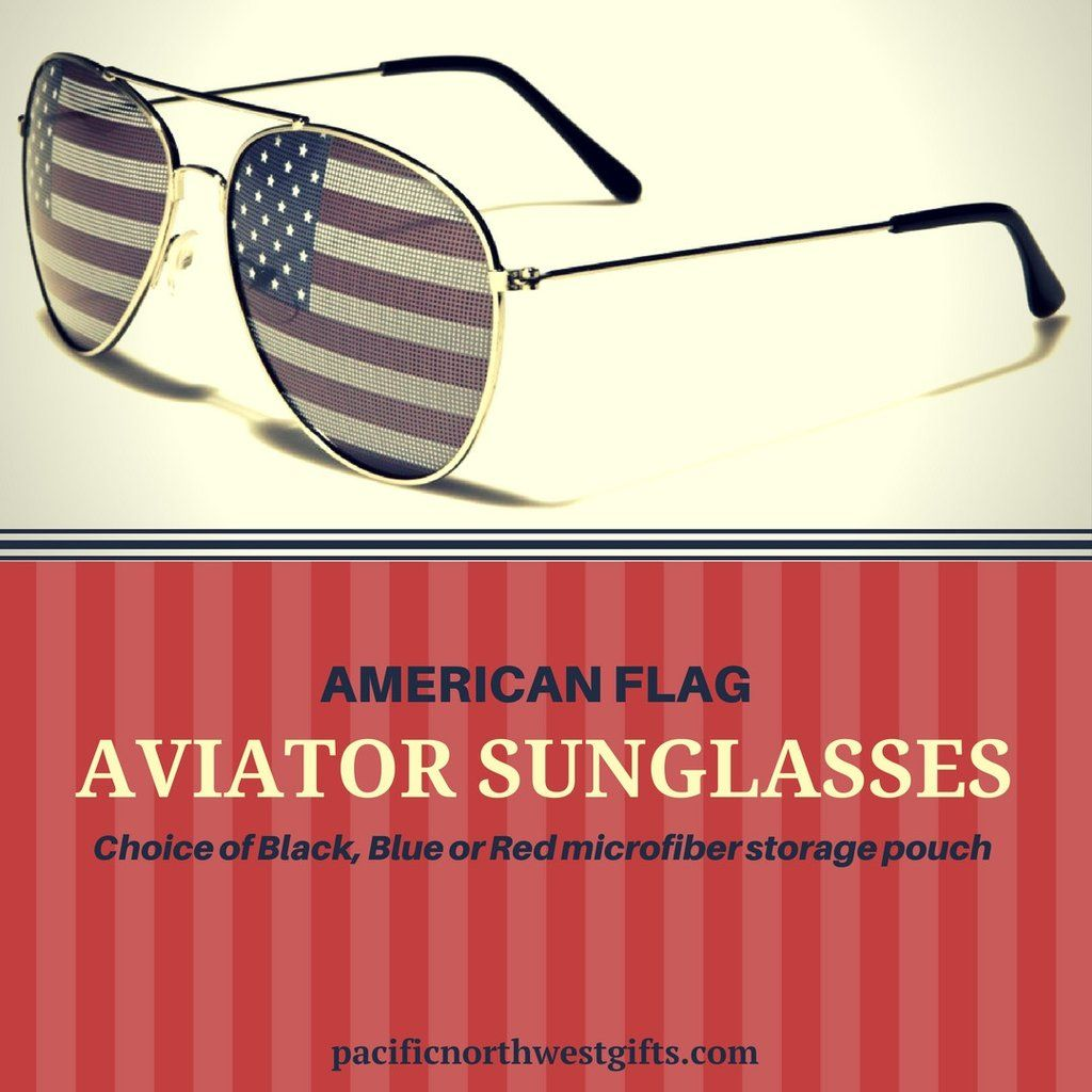 fa03af667c89 American Flag Aviator Style Sunglasses with Flag Lenses with Black Frames