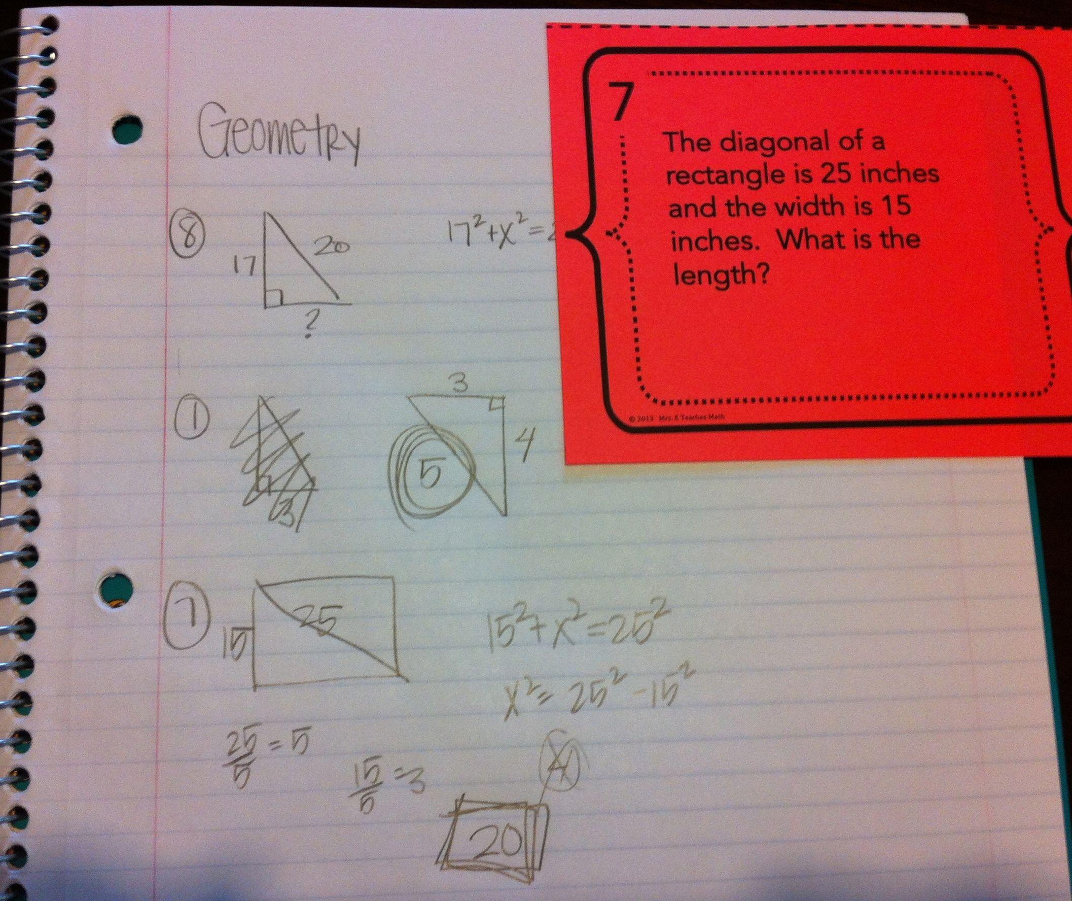 Pythagorean Theorem Word Problems Task Cards Word