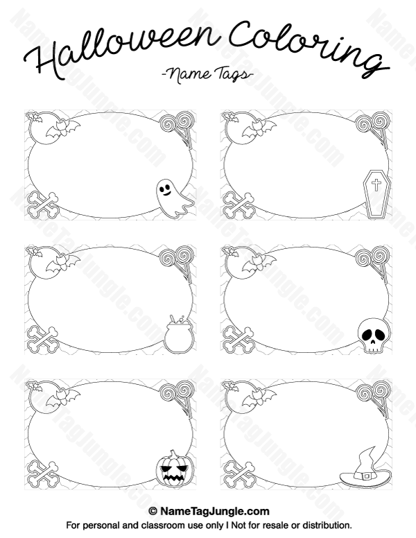 Free Printable Halloween Coloring Name Tags The Template Can Also Be Used For Creating Items L Free Place Card Template Halloween Coloring Place Card Template