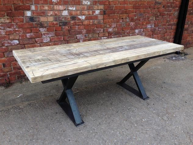 Reclaimed Wood Metal Cross Leg Base Dining Table Dining Table Reclaimed Wood Table Wood Table Legs